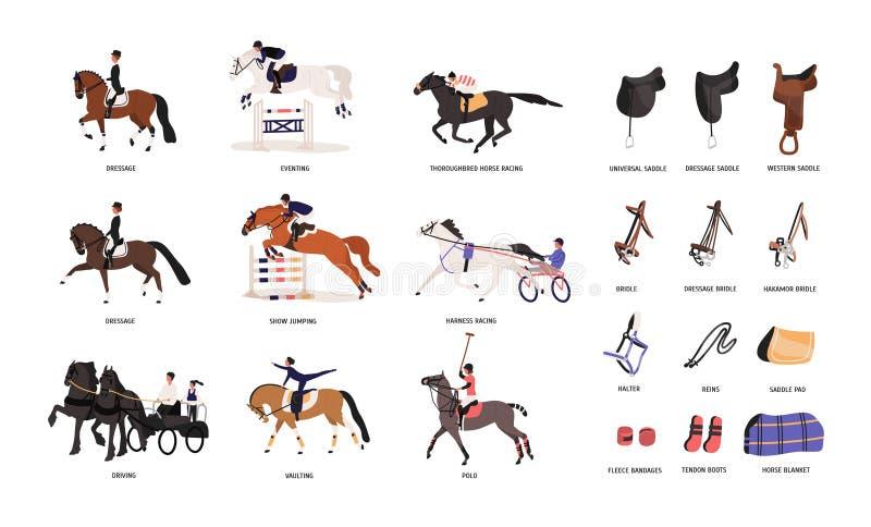 Samling av olika hästgåenden och hjälpmedel för hästryggridning eller equestrianism som isoleras på vit bakgrund royaltyfri illustrationer