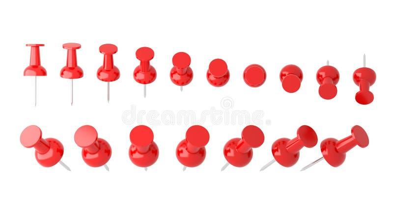 Samling av olikt rött pushben Häftstift på vit stock illustrationer