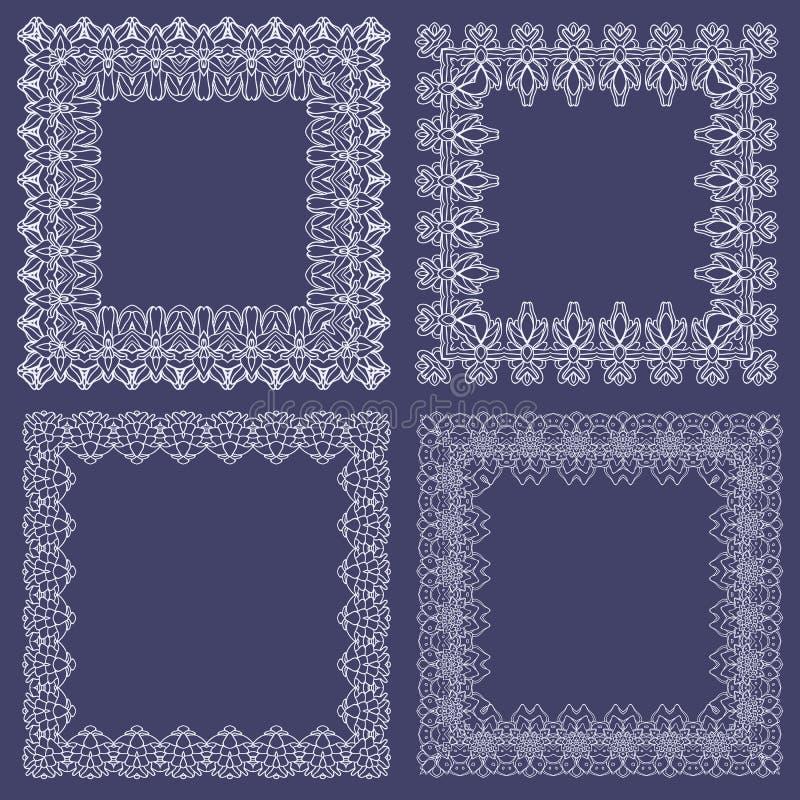 Samling av openwork dekorativa ramar Grafiska objekt royaltyfri illustrationer