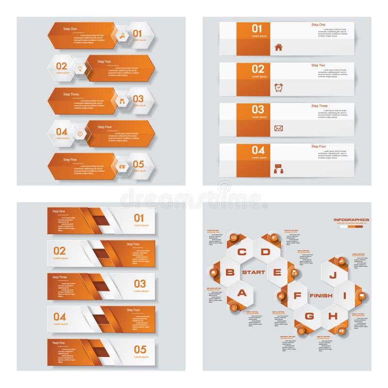 Samling av 4 orange färgmall-/diagram- eller websiteorientering Det kan vara nödvändigt för kapacitet av designarbete stock illustrationer