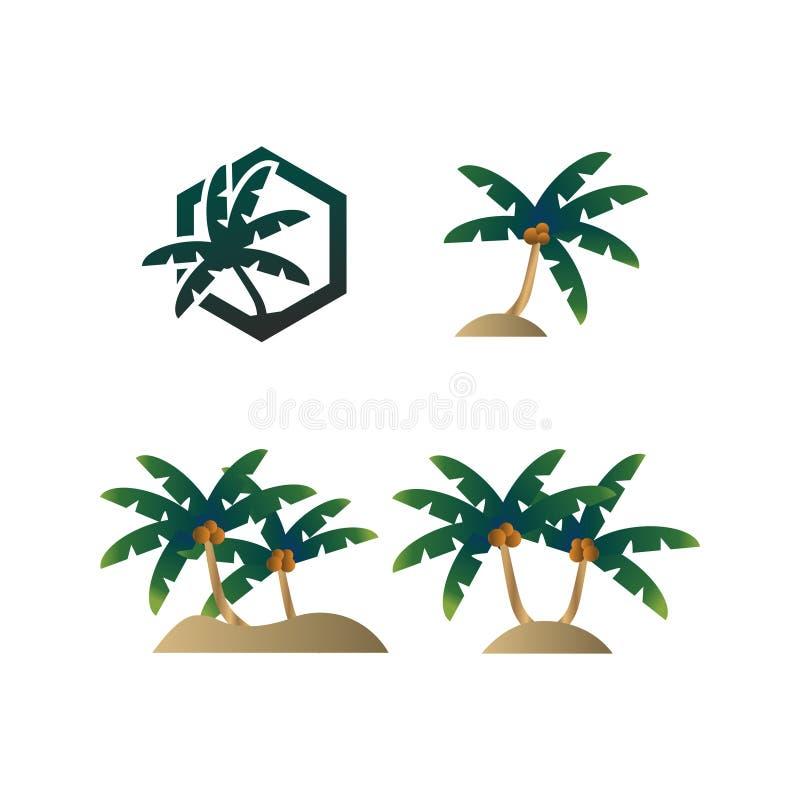 Samling av palmträdsommarlogoen vektor illustrationer