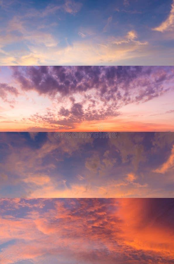 Samling av panoramasikten av dramatisk härlig natursolnedgånghimmel arkivfoto
