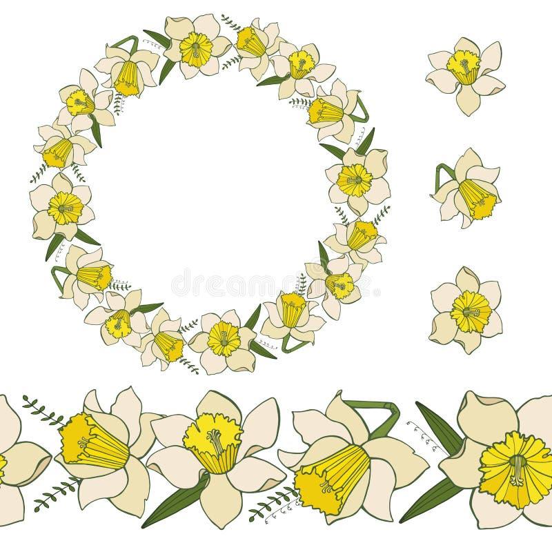 Samling av pingstliljablommor Packe med blom- beståndsdelar som isoleras på vit royaltyfri illustrationer