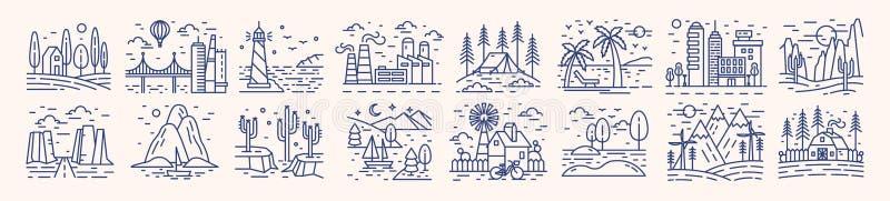 Samling av pittoreska landskapsymboler eller symboler som dras med konturlinjer på ljus bakgrund Packe av härligt stock illustrationer