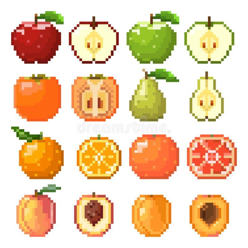 Samling av PIXELfrukter stock illustrationer