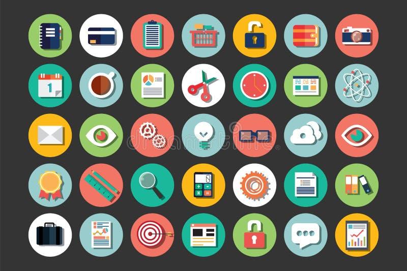 Samling av plana designsymboler, moln som beräknar, kommunikation stock illustrationer