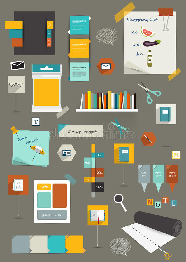 Samling av plana färgrika pappers- klistermärkear, vektor illustrationer