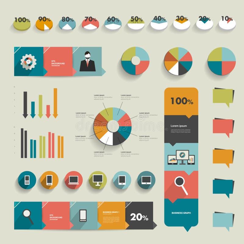 Samling av plana infographicsbeståndsdelar. stock illustrationer