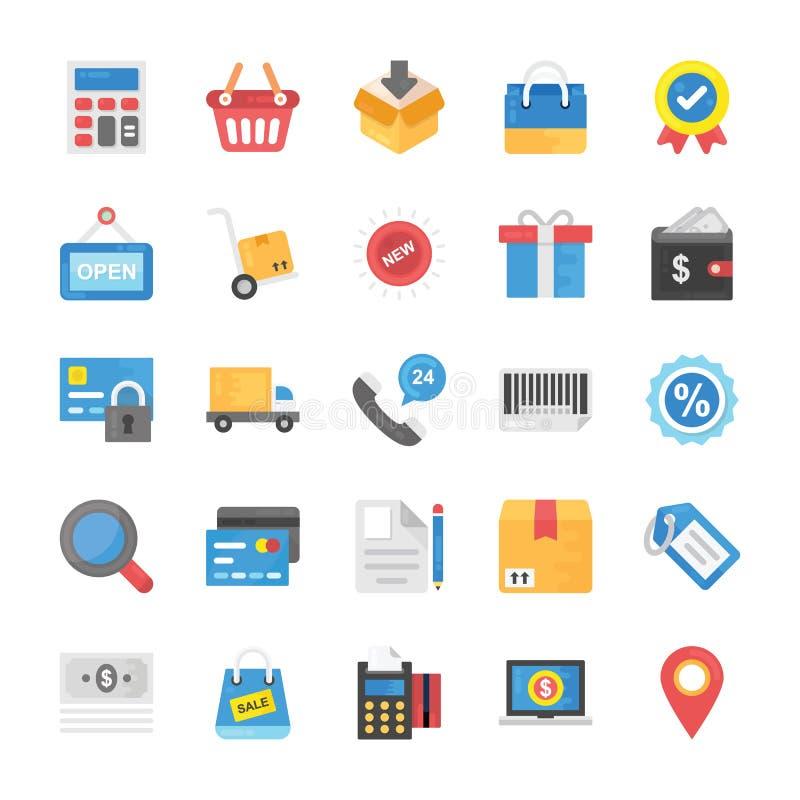 Samling av plana symboler för shopping och för kommers vektor illustrationer