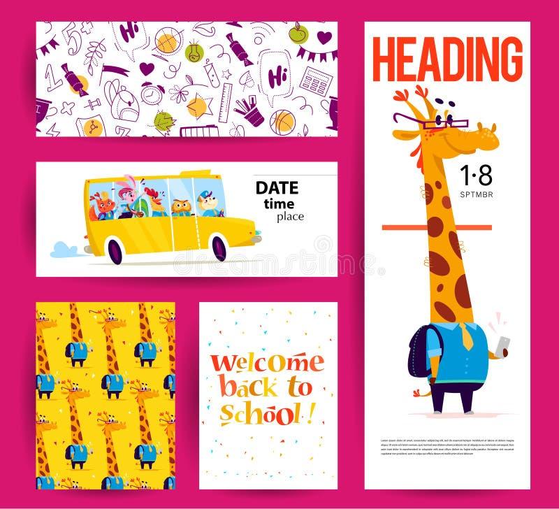 Samling av plant tillbaka till skolakortdesigner med bokstäver, djur och sömlösa bakgrunder royaltyfri illustrationer