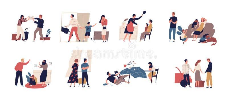 Samling av platser av familjkonflikten eller förhållandeproblemet med olyckliga gifta par och barn Packe av royaltyfri illustrationer