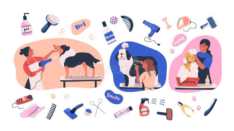 Samling av platser med folk som ansar hundkapplöpning och objekt för lagomsorg Att bry sig för kvinnor av tamdjur eller husdjur - stock illustrationer