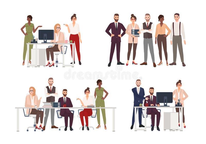 Samling av platser med gruppen av kontorsarbetare eller folk som arbetar på datoren och att ha affärsmöte eller royaltyfri illustrationer
