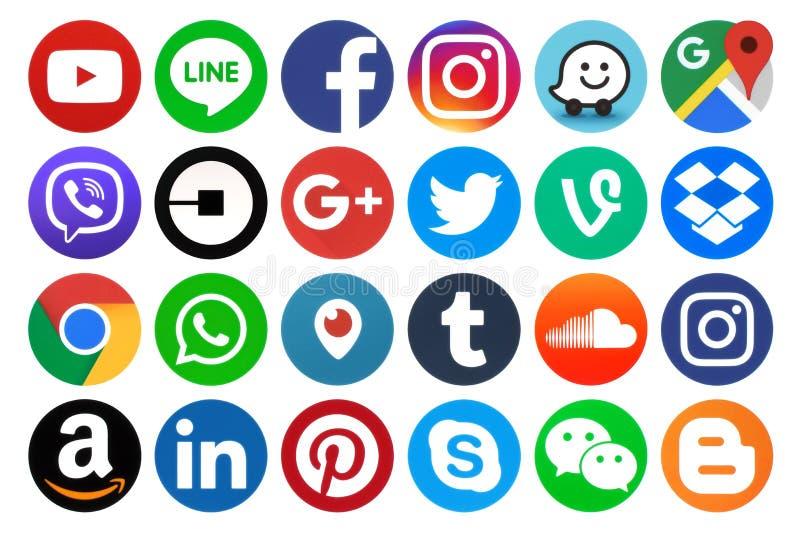 Samling av populära runda sociala massmediasymboler arkivbild
