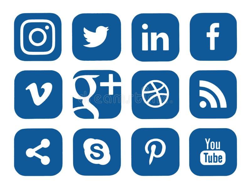 Samling av populära sociala massmedialogoer royaltyfri illustrationer
