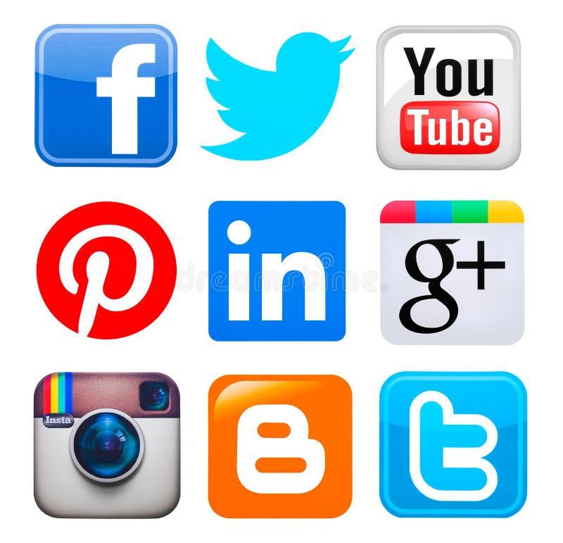 Samling av populära sociala massmedialogoer vektor illustrationer