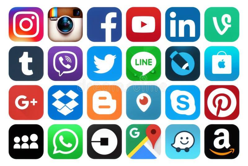 Samling av populära sociala massmediasymboler arkivfoto