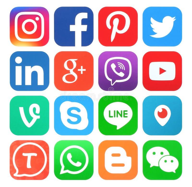 Samling av populära sociala massmediasymboler royaltyfri illustrationer