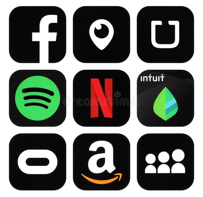 Samling av populärt svart socialt massmedia, affärslogosymboler royaltyfria foton