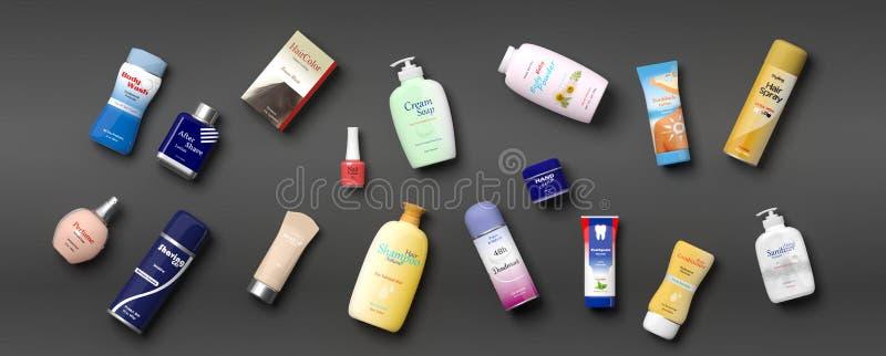 Samling av productss för personlig omsorg - grå bakgrund illustration 3d stock illustrationer