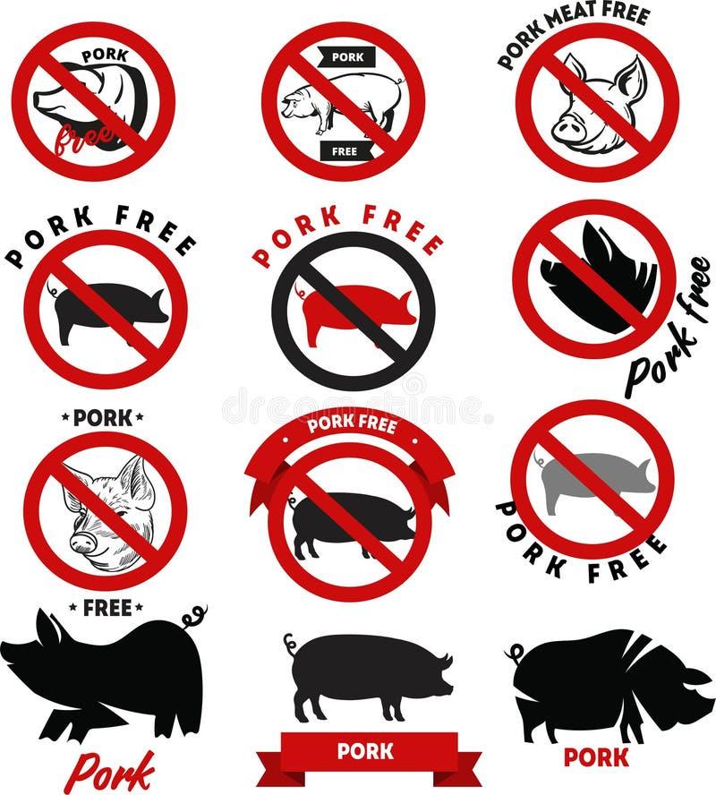 Samling av rött och svart tecken för vektor, symboler och emblemdesigner om griskött med inget griskött, fritt griskött och svin vektor illustrationer