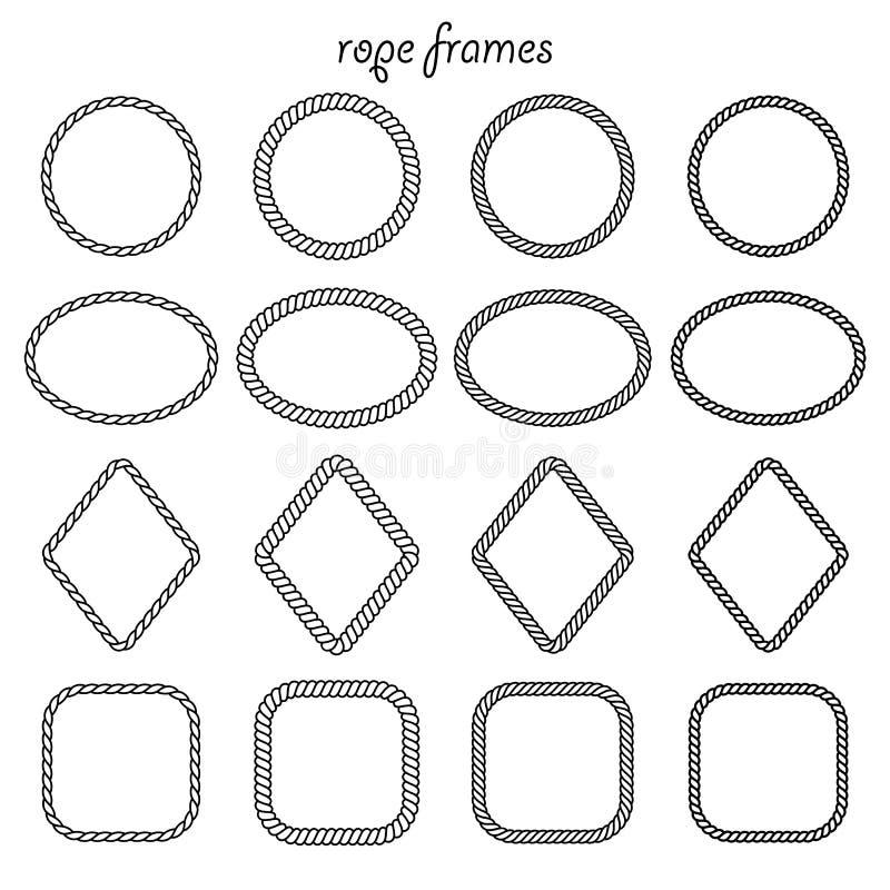 Samling av ramar av repet vektor illustrationer