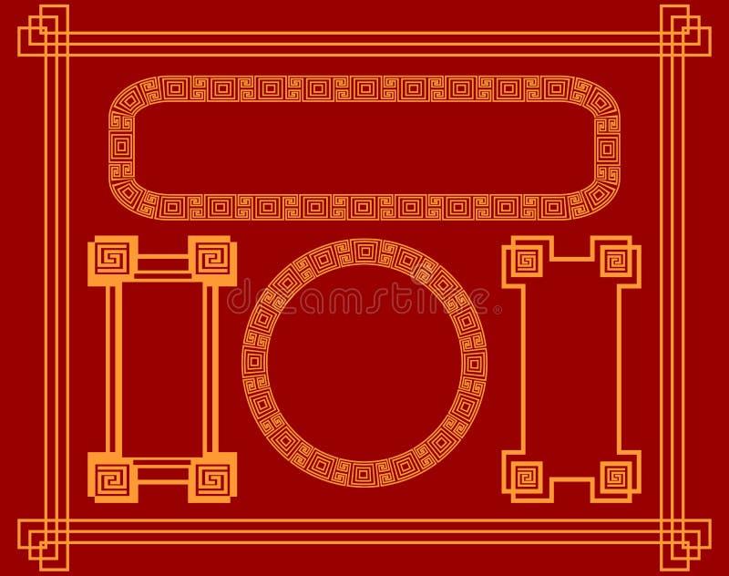Samling av ramar i kinesisk stil För design av vykort, hälsningar och kuvert stock illustrationer