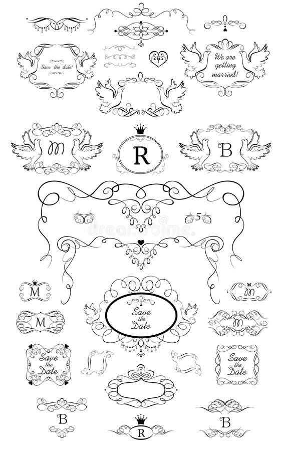 Samling av ramar med duvor, karaktärsteckning, snirkeln och titelrader för att gifta sig och den heraldiska designen, menykort, r vektor illustrationer