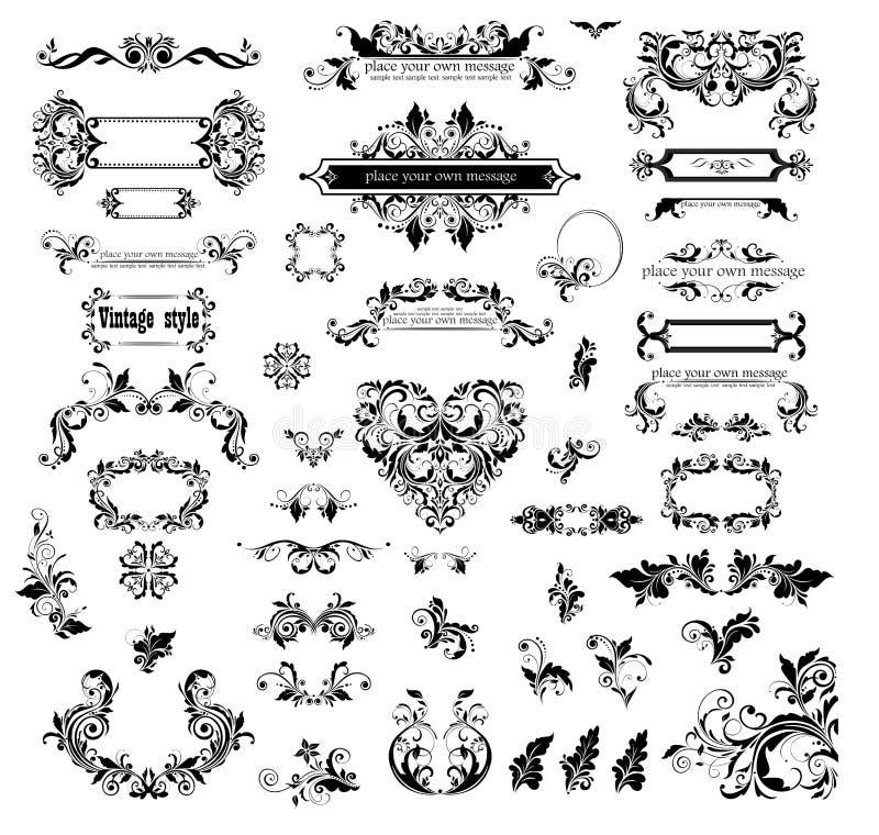 Samling av ramar och titelrader för dekorativ tappning för vektor blom- svarta för design vektor illustrationer