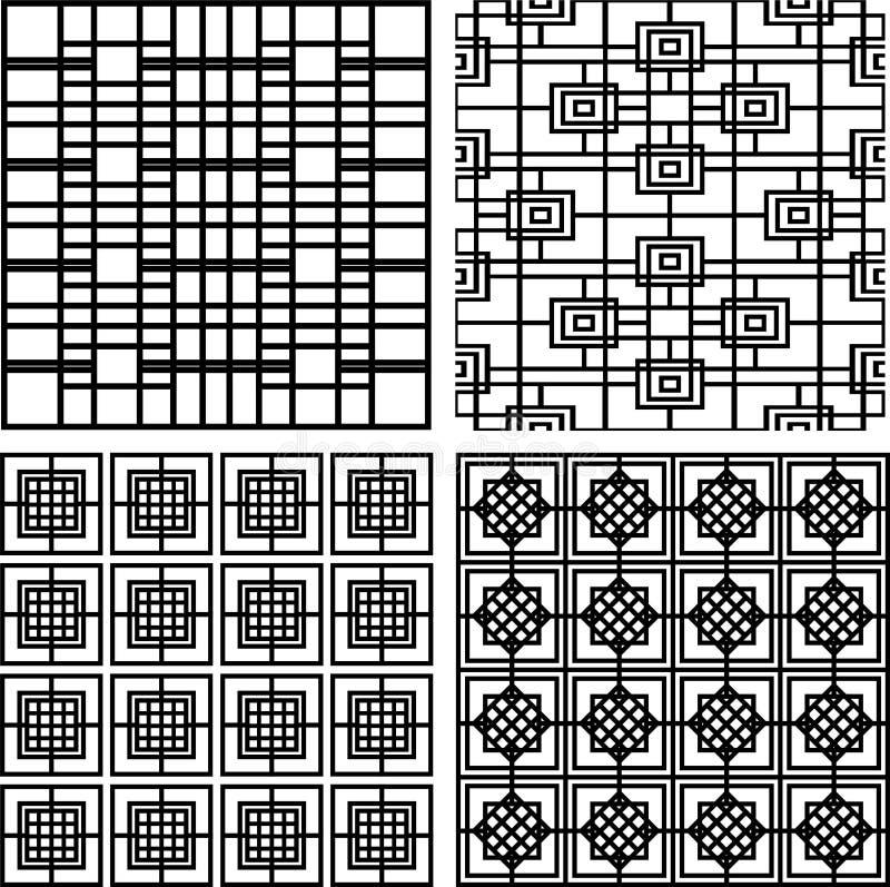 Samling av randiga fyrkantiga sömlösa geometriska modeller royaltyfri illustrationer