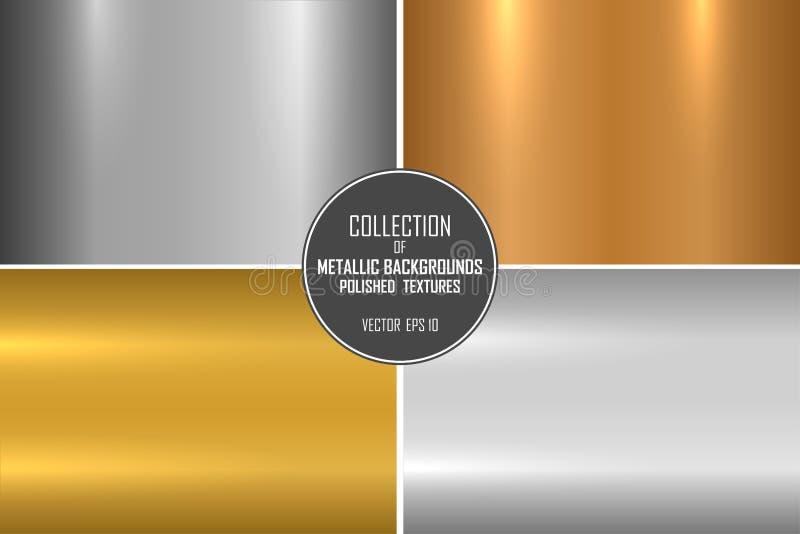Samling av realistiska metalliska texturer Skinande polerade metallbakgrunder för din design vektor illustrationer