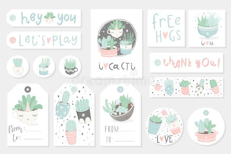 Samling av redy som använder gåvasommaretiketter, kort och klistermärkear med suckulenter stock illustrationer