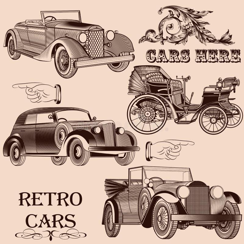 Samling av retro bilar vektor illustrationer