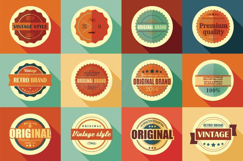 Samling av retro etiketter, emblem, stämplar och band för tappning stock illustrationer
