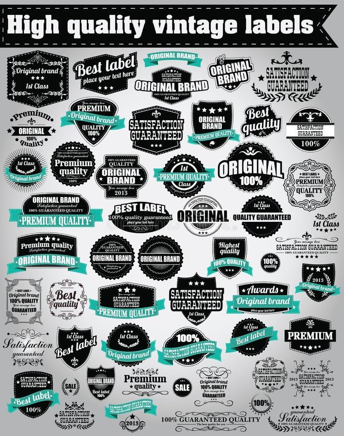 Samling av retro etiketter för tappning, emblem, stämplar, band stock illustrationer
