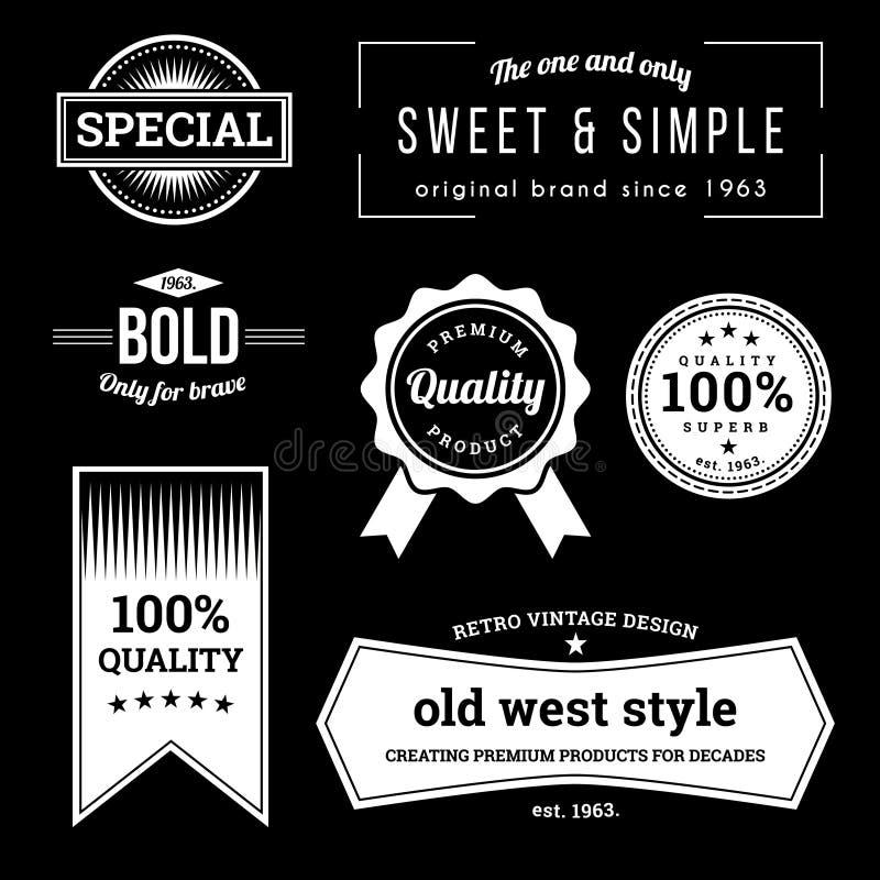 Samling av retro etiketter med retro tappning utformad design vektor illustrationer