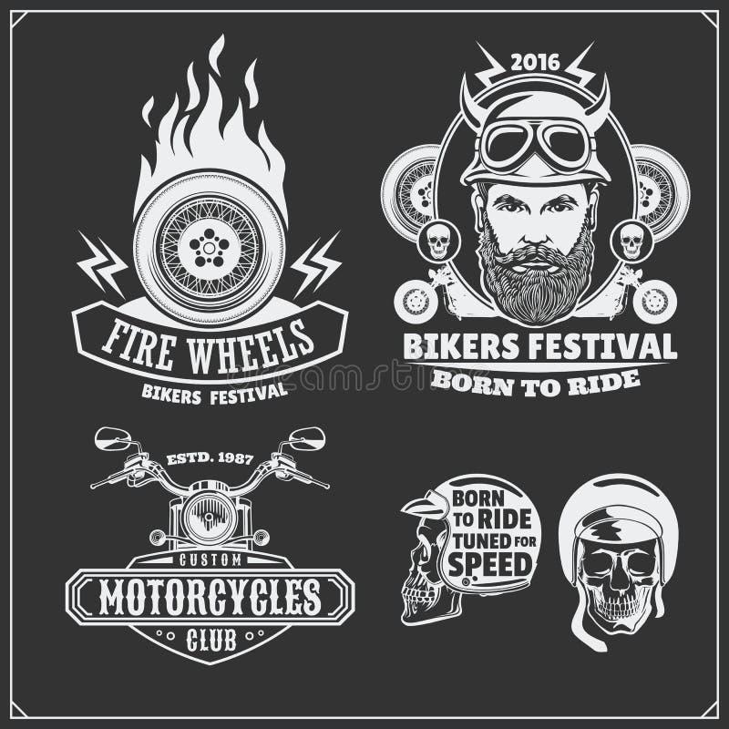 Samling av retro motorcykeletiketter, emblem, emblem och designbeståndsdelar tappning för stil för illustrationlilja röd vektor illustrationer