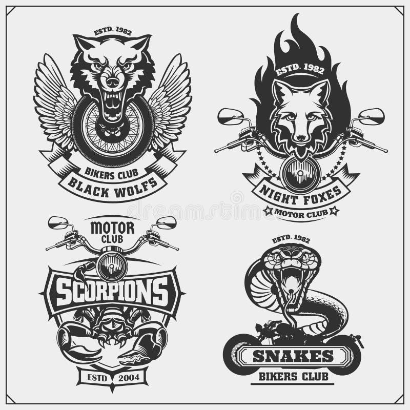 Samling av retro motorcykeletiketter, emblem och designbeståndsdelar Motor- och cyklistklubbaemblem med vilda djur vektor illustrationer