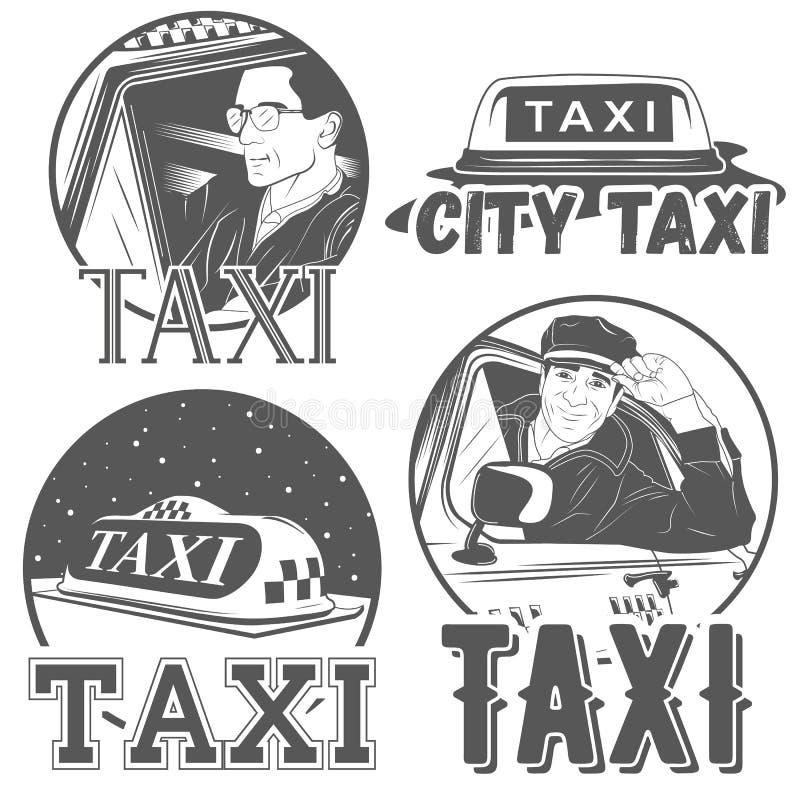 Samling av retro taxilogotyper för vektor stock illustrationer