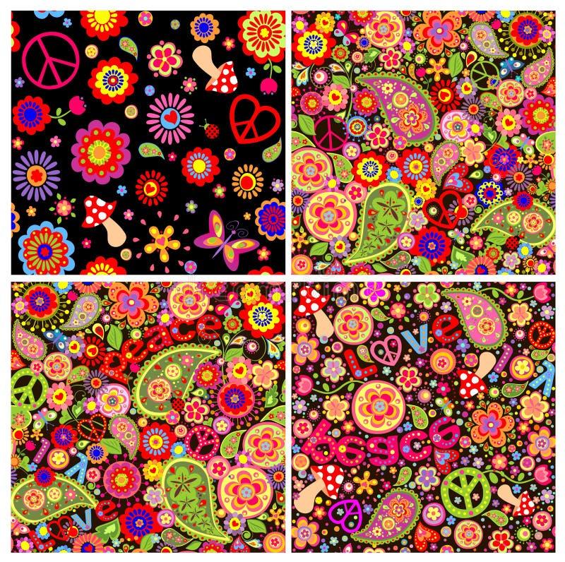 Samling av roliga barnsliga färgrika hippietapeter royaltyfri illustrationer