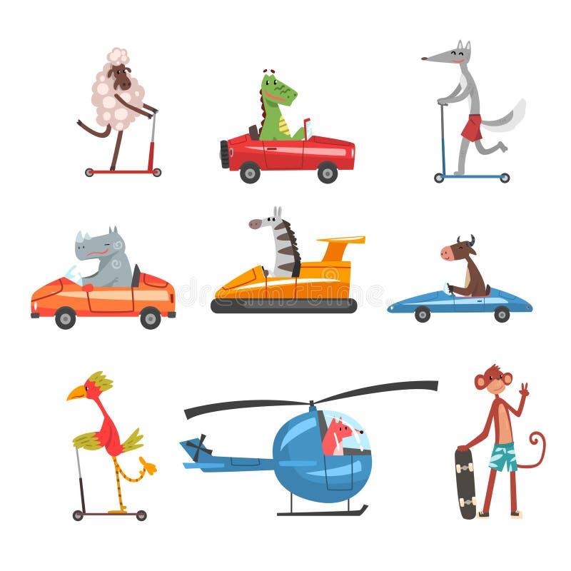 Samling av roliga djura tecken som använder olika typer av medel, kanin, drake, flodhäst, sebra, ko, fågel, räv royaltyfri illustrationer