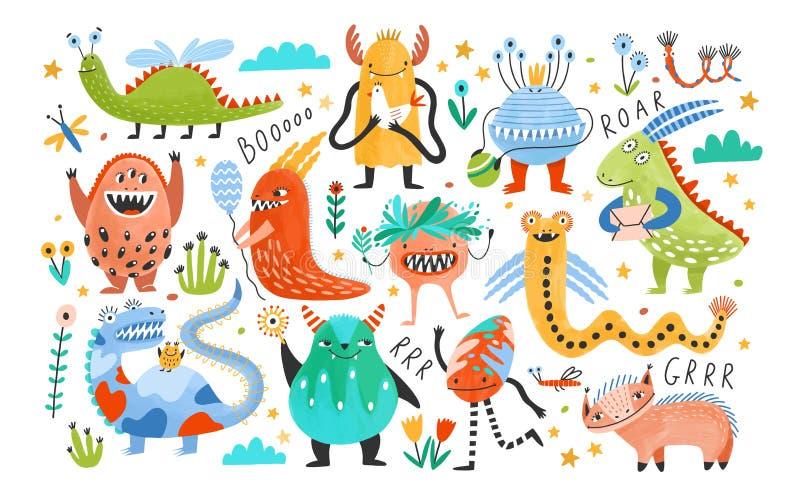Samling av roliga monster eller främlingar Packe av gulliga fantastiska eller sagavarelser Tecknad filmtecken som isoleras på stock illustrationer