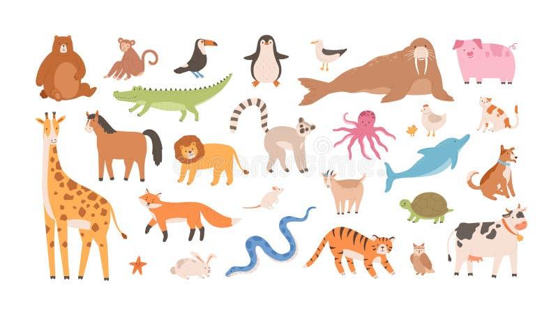 Samling av roligt förtjusande löst exotiskt och tamdjur - gulliga däggdjur, reptilar, fåglar som isoleras på vit royaltyfri illustrationer