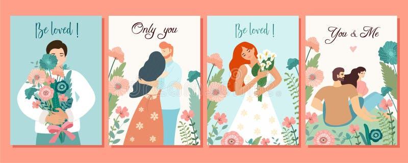 Samling av romantiska kort Vektordesignbegrepp för valentin dag Härliga illustrationer med blommor och älskapar vektor illustrationer