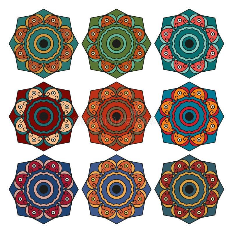 Samling av runda etniska modeller vektor illustrationer