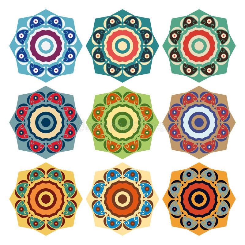 Samling av runda etniska modeller royaltyfri illustrationer