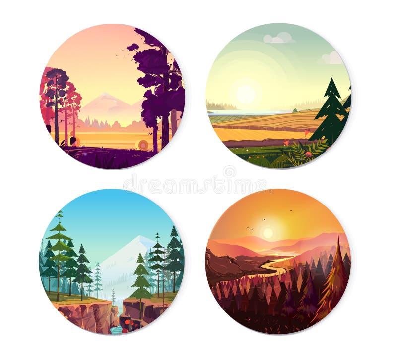 Samling av runda illustrationer på naturen, stads- och sporttema Bruk som logo, emblem, symbol eller ditt designarbete vektor illustrationer