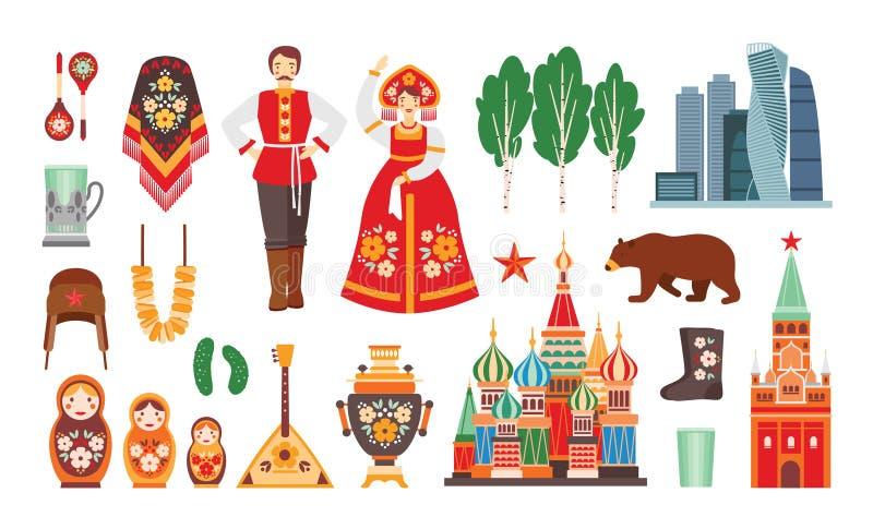 Samling av ryska medborgaredräkter, attribut, byggnader som isoleras på vit bakgrund - matryoshka, balalayka royaltyfri illustrationer