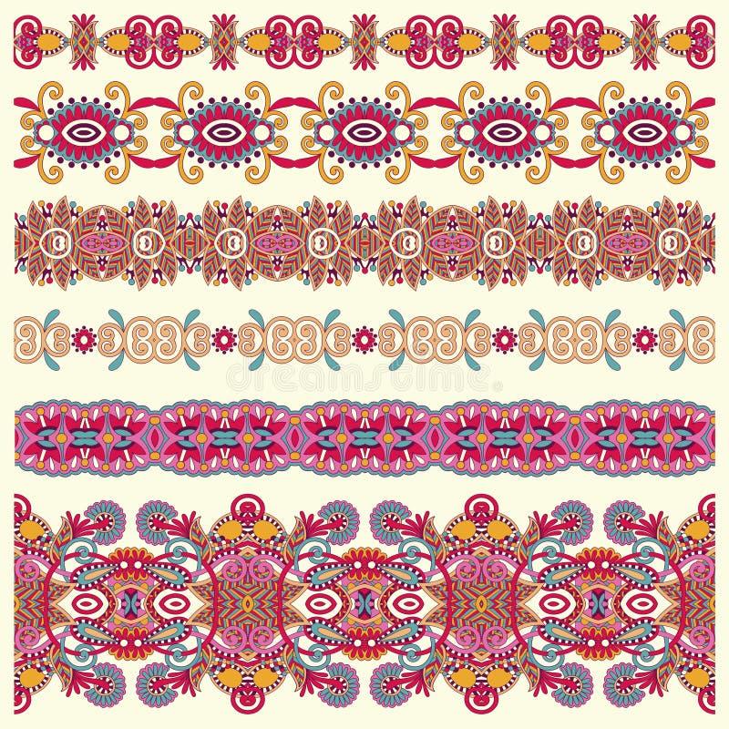 Samling av sömlösa dekorativa blom- band vektor illustrationer