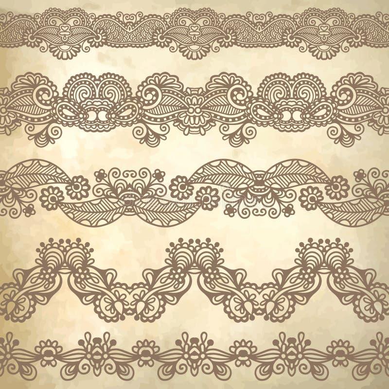 Samling av sömlösa dekorativa blom- band stock illustrationer